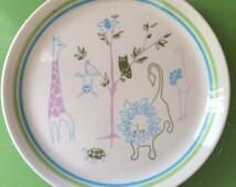 Shenango Restaurant Ware Children's Plate, Zoo Animals