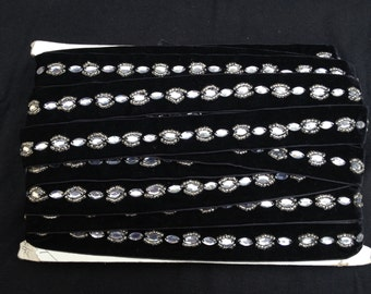 Black Velvet Trim with Silver Rhinestones and Beads