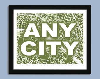 Any city - City Map Art Print / Wall Art Poster  / Decorative map /  Choose your color