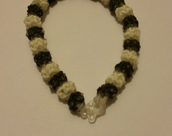 Black & White Gumdrop Rubber Band Bracelet