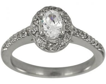 Diamond Halo Engagement Ring Oval Center 1/2 Carat In 14K White Gold Oval Diamond Solitaire