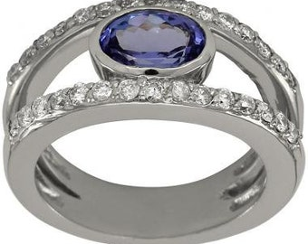 Tanzanite Ring With Oval Tanzanite Gemstone With Diamonds In Split Shank Ring