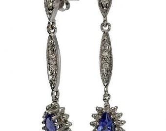 Tanzanite Earring Dangling Diamond Earrings Vintage Earrings In 14k White Gold
