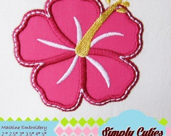 Hibiscus MACHINE EMBROIDERY / INSTANT hawaii flower embroidery applique, summer Hibiscus  applique flower embroidery