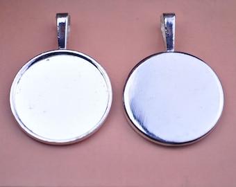 10 pcs silvery white circular bezel Pendant trays vintage