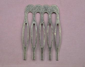 Hair combs,50Pcs Antique Bronze metal combs with 5 teeth