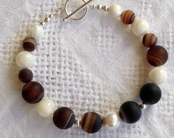 Sterling silver, agate and pearl bracelet