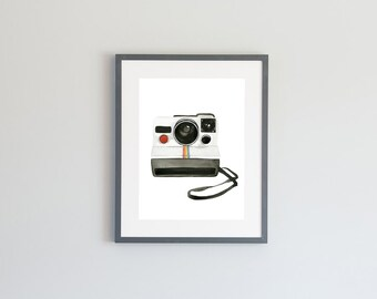 Hand Painted Watercolor Archival Giclée Print - Retro Polaroid Camera Painting
