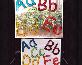 Alphabet window clings, full A to Z letters for glass & window decoration, reusable static cling decal, educational, fun and decorative