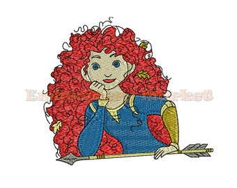 princess merida brave embroidery Design for Embroidery Machines 3 sizes - Instant Download