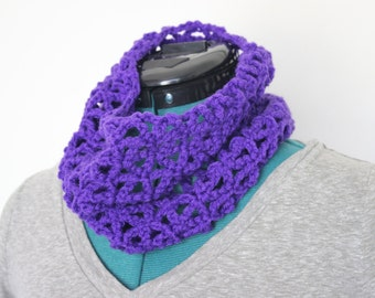 Purple Open Stitch Crochet Cowl