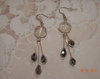 Silver Tone Glass Beaded Earrings