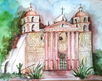 Mission Santa Barbara Watercolor print, California Mission, Mission watercolor, Santa Barbara scene, Queen of the Missions, collectible art