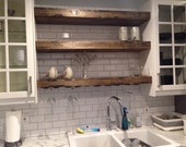 Floating Shelf with a Wine Glass Rack, Farmhouse Shelf, Rustic Shelves, Reclaimed Wood
