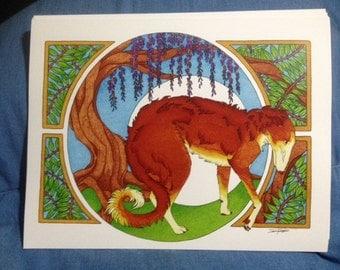 Print Art Nouveau Borzoi/Wisteria