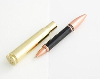 Buffalo Horn .50 Caliber Machine Gun Cartridge Ballpoint Pen - handmade
