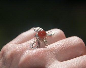 Sterling silver and carnelian triple petal ring