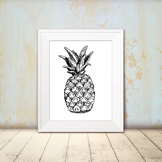 croquis dananas noir et blanc ananas imprimer par rachelsfinelines. Black Bedroom Furniture Sets. Home Design Ideas