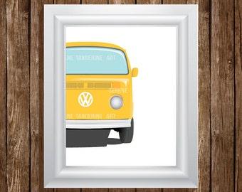 VW Bus Van Retro Illustration Art Digital Print, Home Decor, Wall Art, Instant Download, Printable Art, 8 x 10