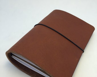 Personal leather travelers notebook.  Nutmeg color.