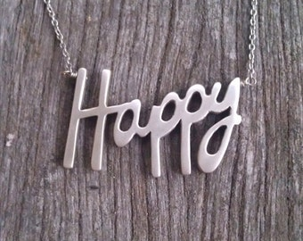 Happy Word Necklace | Mental Health Awareness | Inspirational Jewelry | Healing | Survivor | Sterling Silver Happy Pendant | Affirmation