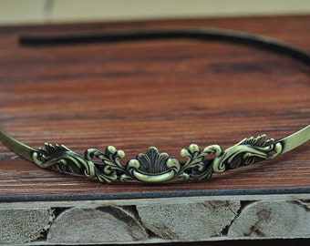 Bronze Metal Headband--5pc Antique Bronze Headband With Filigree Foliage Accessories,Lucky/Elegance Headband For Women,Teenage Girls
