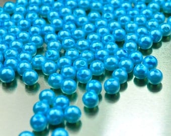 100pcs Wholesale Pearl Bead--Blue Plastic Pearl,8mm Round Bead,Bead Supplies For Necklace