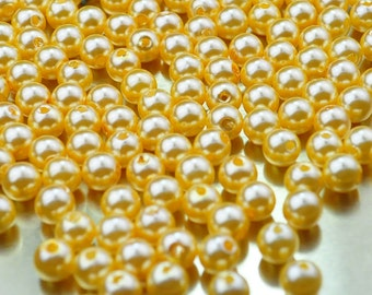 100pcs Wholesale Pearl Bead--Gold Plastic Pearl,8mm Round Bead,Bead Supplies For Necklace