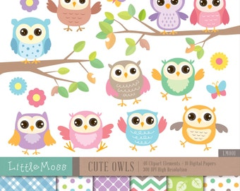 Cute Owls Digital Clipart and Papers