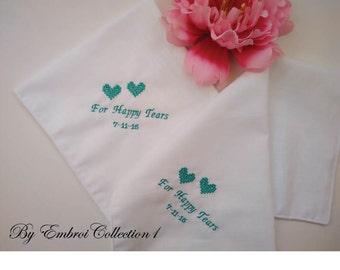 Set Of 2 For Happy Tears Handkerchief /Wedding Handkerchief For Bridesmaid/Embroidery Hankie/Custom Blue Thread/Add Lace Edging Is Free
