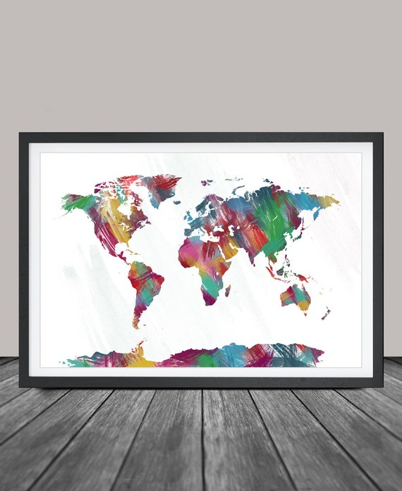World map poster push pin travel map large world by for World map wall print