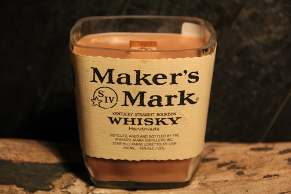 Upcycled Maker's Mark Whisky Candle  Recycled Bourbon Bottle Candle Handmade Wood Wick Soy Candle 1L Recycled Glass Bottle 22oz Soy Wax