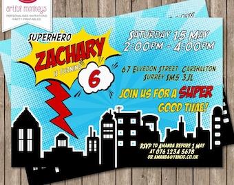Blue Superhero Party Invitation