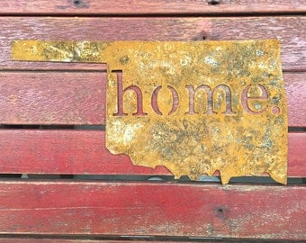 Rusted Oklahoma Home Sign