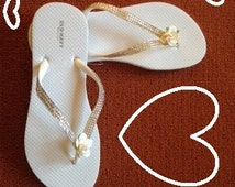 Wedding Party WHITE Flip Flops Size 8 with Silver Sparkle Straps and White Rose Decoration