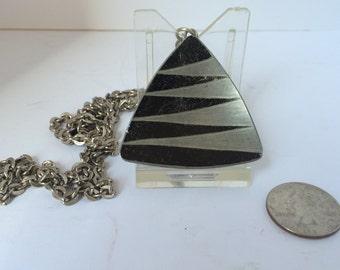 Mid-century signed Jorgen Jensen 790 pewter pendant and chain