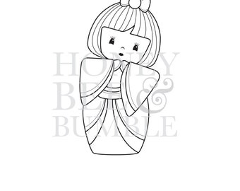 Digital Stamp - Instant Download - Kokeshi Doll - Michiko (Beatiful Wise) - COMMERCIAL USE