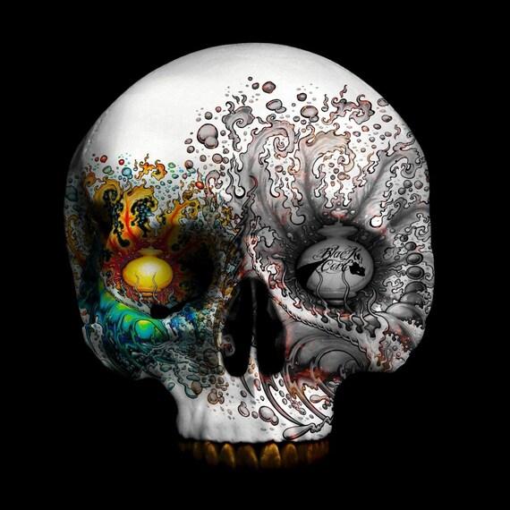radioactive 30 x 30 fine skull art print on