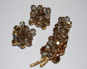 Juliana D&E Topaz and Brown Rhinestone Leaf Brooch and Earrings with Brown Dangles - Demi Parure