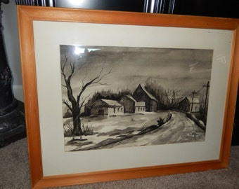 ORIGINAL WATER COLOR Painting Signed Sr M Zoe 1970