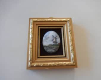 ORIGINAL MINIATURE WALL Hanging with Porcelain Picture of Windmill
