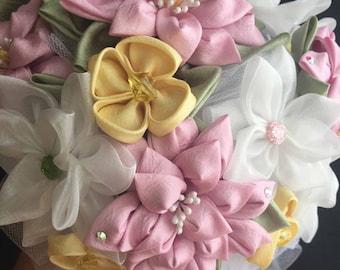 Handmade Wedding Bouquet, Recital Bouquet Wedding Fabric Flower Bouquet