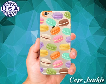 Macaron Cookie Pattern Rainbow Colors Macaroons Clear Case iPhone 5 iPhone 5C iPhone 6 iPhone 6+ iPhone 6s iPhone 6s Plus iPhone SE iPhone 7
