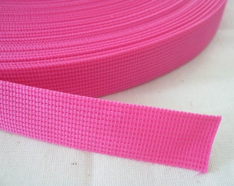 5 Yards, 1 inch (2.5 cm.), Polypropylene Webbing, Hot Pink, Key Fobs, Bag Straps, Purses Straps, Belts, Tote Bag Handle.