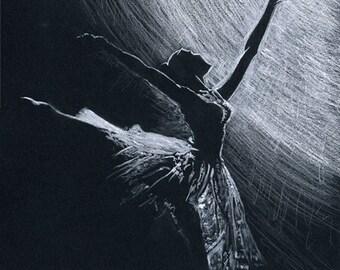 Ballet Dancer Print - A Ballet Dancer Print from my Ballerina Painting in monochrome titled 'LIMELIGHT''