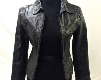 Vintage faux leather moto jacket