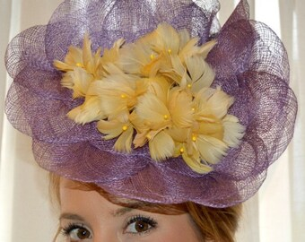 Purple flowers of yellow feather headdress