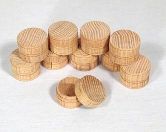 Round Oak Pill Boxes- Pack of 6