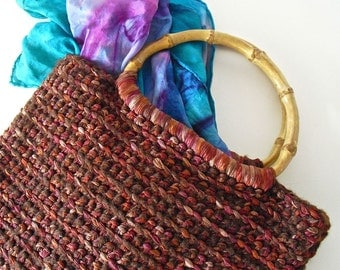 Kindle, iPad Mini, Nook Crocheted Ribbon Tote Bag, Handbag, Crochet Tote,  Burgundy and Mauve, Bamboo Handle, Washable, Soft Tote