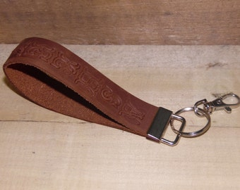 Monogrammed Leather Wristlet/ Leather Keychain/ Leather Key Fob/ Personalized
